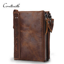 Genuine Crazy Horse Cowhide Leather Men Wallet Short Coin Purse CONTACT'S HOT