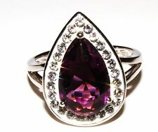 Sterling Silver Amethyst and Crystal Pear-Shaped Ring (RRP £29.99)