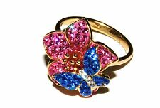 Gold-Plated Silver Crystal Flower and Butterfly Ring (RRP £39.99)