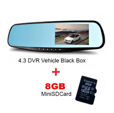 Vehicle 4.3 1080P Black Box DVR Car Rear View Mirror (Black) Combo W/ 8GB Micro
