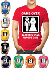 Game Over Personalised Stag Party Crew Neck T-Shirt Customise Your Text & Colour