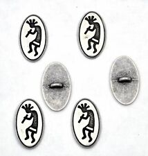 6 bottoni in metallo etnici ovali - SUONATORE DI FLAUTO - flute player buttons