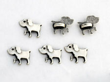 6 bottoni in metallo serie animali - CANE - dog buttons
