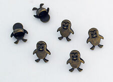 6 bottoni in metallo serie animali - PINGUINO - penguin buttons