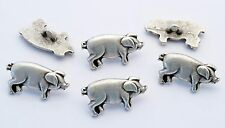 6 bottoni in metallo serie animali - MAIALE - pig buttons