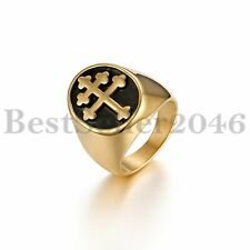 Men Women Polished Cross Gold Stainless Steel Signet Ring Wedding Band Size 8-13