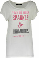 GR 72740 Bianco t-shirt donna guess jeans ;  guess jeans donna t-shirt con manic
