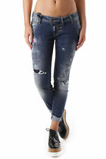 GR 68786 Blu scuro jeans donna sexy woman sexy woman donna jeans effetto sbiadit