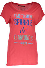 GR 72742 Rosso t-shirt donna guess jeans ;  guess jeans donna t-shirt con manich