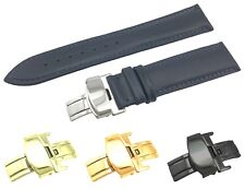 Navy Genuine Leather Flat Strap/Band fit TISSOT Watch Clasp 18 19 20 21 22mm