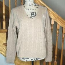 POLO RALPH LAUREN CABLE KNIT V-NECK WOMEN'S SWEATER MERINO WOOL CASHMERE $98.50