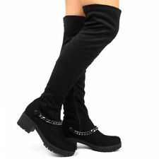 Womens Ladies Over The Knee High Heel THigh Chain Boots Pull Over Sexy Boots 501