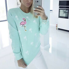 DR7 Casual Flamingo Coconut Tree Print Women Autumn Sweatshirt Pullover Showy