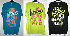 ZUMBA T SHIRT TOP-'WORLD IS OUR DANCE FLOOR' - BLACK/BLUE/ZUMBA GREEN -BRAND NEW