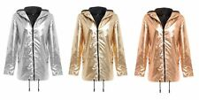 New Womens Hooded Zipped Metallic Festival Jacket Top Raincoat Kagool Mac 8-16