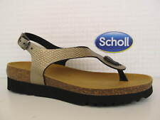 Scholl Kenna Platinum Silver Pewter Toe Post Bioprint Footbed Slingback Buckle