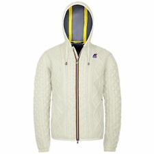 K-WAY GIACCA UOMO CORTA CAPPUCCIO Aut/Inv KWAY JACQUES WOOL Bianco co News T36rp