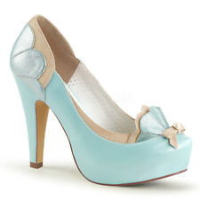 Decollete Decolte Donna Scarpe Plateau Azzurro Pastello Pleaser BETTIE-20
