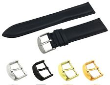 Black Genuine Leather Flat Strap/Band fit TISSOT Watch Buckle 18 19 20 21 22mm