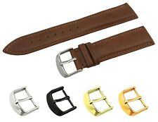 Brown Genuine Leather Flat Strap/Band fit TISSOT Watch Buckle 18 19 20 21 22mm