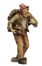 Shepherd with wood, statue wood carving for Nativity set mod. 912