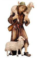 Shepherd with sheeps, statue wood carving for Nativity set mod. 912