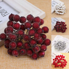 1 BOUQUET MINI CHRISTMAS FOAM FROSTED FRUIT ARTIFICIAL HOLLY BERRY HOME DECOR AL