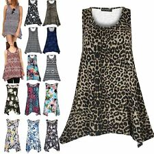 New Womens Ladies Printed Ruched Sleeveless Flare Vest Swing Dress Top Plus Size