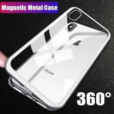 Luxury Magnetic Metal Frame Tempered Glass Back Case Cover for iPhone X 7 8 Plus
