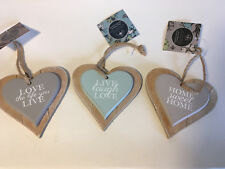 WALL PLAQUE/SIGN - Heart shaped Rustic Wood & Rope, Shabby Chic