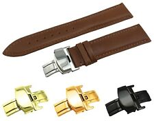 Brown Leather Flat Strap/Band fit Raymond Weil Watch Clasp 18 19 20 21 22mm