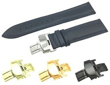 Navy Leather Flat Strap Band fit Raymond Weil Watch Clasp 18 19 20 21 22mm