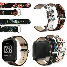 Floral Leather Replacement Watch Band Bracelet Wrist Strap For Fitbit Versa Top