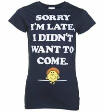 Official Women's Little Miss Late Sorry I'm Late Navy T-Shirt : 80s Fairytales