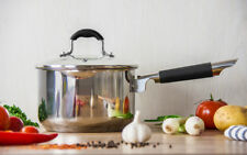 Milk Pan Boil Pan Saucepan  Non Stick Induction Stainless Steel LUSTRO With Lid