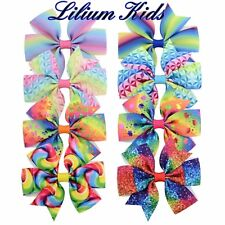 """Multi Coloured Hair Bows - Various Designs, Unicorns, Bows, Spiral- 3"""" with clip"""