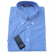 Relco Mens Blue Gingham Check Short Sleeve Shirt Button Down Collar Mod Vtg