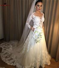 Gowns Bridal Long Formal Wedding Dress A-line Tulle Lace Beading Crystal Zipper