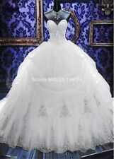 Wedding Dresses Ball Gown With Embroidery Sleeveless Lace Chapel Train Strapless