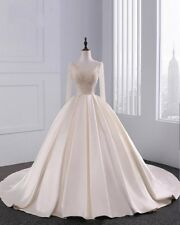 Bridal Gowns Lace Up Long Sleeve Wedding Ball With Petticoat Beads Satin Dress