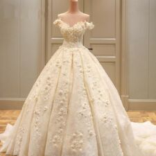 Wedding Dresses Off Shoulder Appliques Lace With Flower Gowns Beading Cap Sleeve