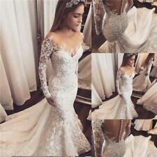 Wedding Dresses Mermaid Long Sleeve Lace Up Pearls Gowns Bridal Beading Flowers