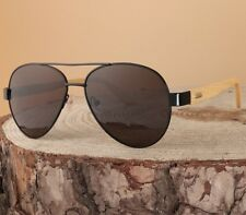Classic Aviator Sunglasses Metal Frame & Wooden Arms Summer Look Shades