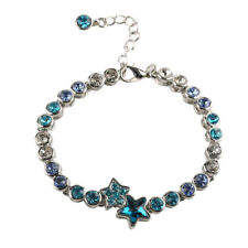 Star Bracelet Aquamarine Crystal Women Adjustable Chain Cuff Bangle Accessory
