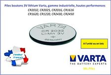 Button Cell 3V Litio Varta, CR2032/2025/2016/1220/1616/1620/2430/2450