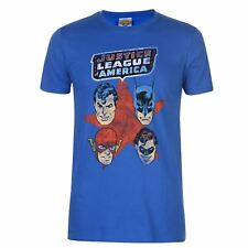 UOMO DC COMICS JUSTICE LEAGUE SUPERMAN BATMAN FLASH rétro MAGLIETTA T-SHIRT