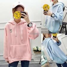 Women Casual Cute Rabbit Embroidery Loose Hooded Long Sleeve Hoodies WST