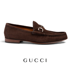 Men's Gucci Shoes Brown Suede Loafers Brand New