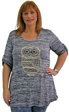 Ladies Plus Size Womens Curve 3/4 Sleeve Diamante Stud Embellished Owl Tunic Top