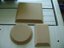 WOODEN PLAQUES Circles / Squares / Rectangles 18mm MDF blank signs plinths plain
